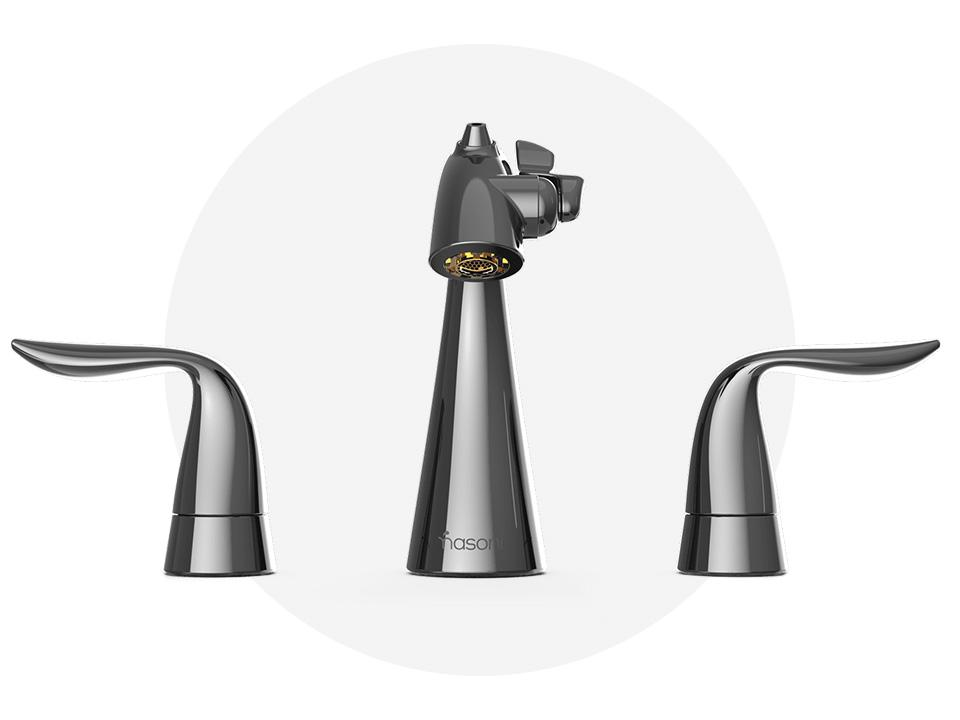 Front View of Gloss Black Nickel Nasoni Widespread Fountain Faucet
