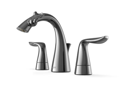 Front Angle View of Gloss Black Nickel Nasoni Widespread Fountain Faucet on White Background