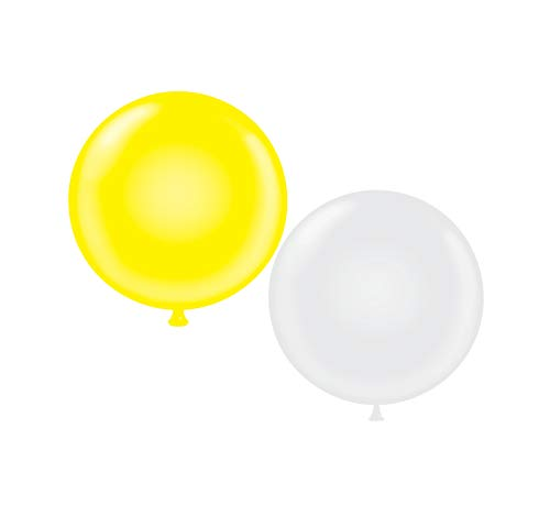 72 inch Giant Latex Balloons - Qty 2- (1) Yellow (1) White