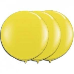 36 Inch Giant Round yellow Latex Balloons by TUFTEX (Premium Helium Quality) Pkg/3