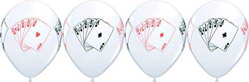 "11"" Casino Night Straight Flush 4 Sided Print White Latex Balloons 10 Count - Hearts, Diamonds, Clubs and Spades"