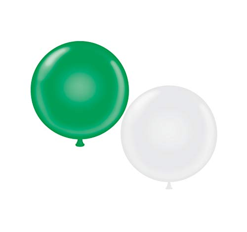 60 inch Giant Latex Balloons - Qty 2 - (1) Green (1) White