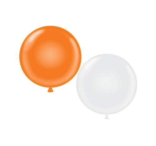 60 inch Giant Latex Balloons - Qty 2- (1) Orange (1) White
