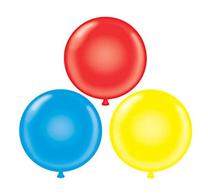 60 inch Giant Latex Balloons - Qty 3- (1) Red (1) Yellow (1) Blue