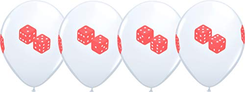 "11"" Casino Night ROLL OF THE DICE 4 Sided Print White Latex Balloons 25 Count"