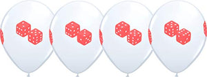 "11"" Casino Night ROLL OF THE DICE 4 Sided Print White Latex Balloons 10 Count"
