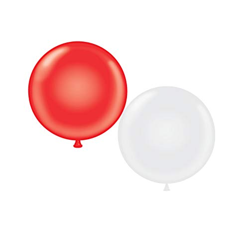 72 inch Giant Latex Balloons - Qty 2- (1) Red (1) White