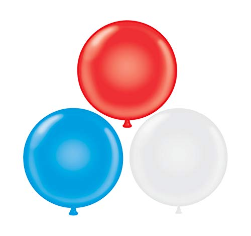 60 inch Giant Latex Balloons - Qty 3- (1) Red (1) White (1) Blue