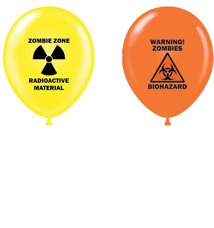 "12 Zombie Party 11"" Yellow Radioactive Material Zombie Zone and 11"" Orange Biohazard Warning Zombies Print Latex Balloons"
