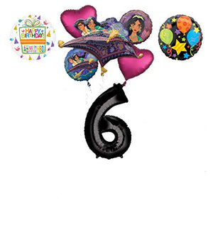 Mayflower Products Aladdin 6th Birthday Party Supplies Princess Jasmine Balloon Bouquet Decorations - Black Number 6