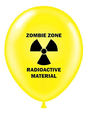 "12 Zombie Party 11"" Yellow Radioactive Zombie Zone Print Latex Balloons"