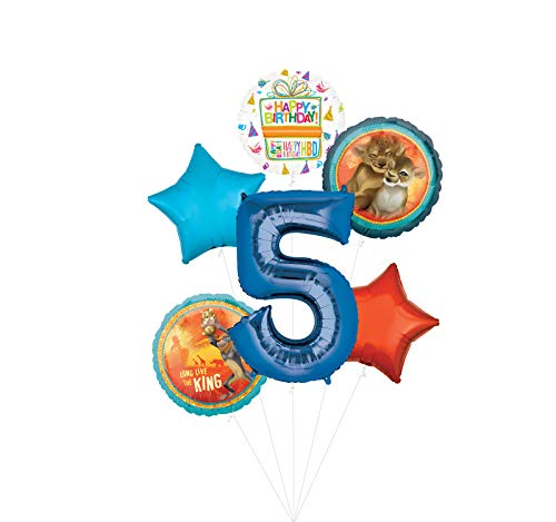 Lion King Party Supplies 5th Birthday Balloon Bouquet Decorations - Blue Number 5