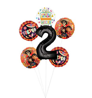 Coco Party Supplies 2nd Birthday Fiesta Balloon Bouquet Decorations - Black Number 2