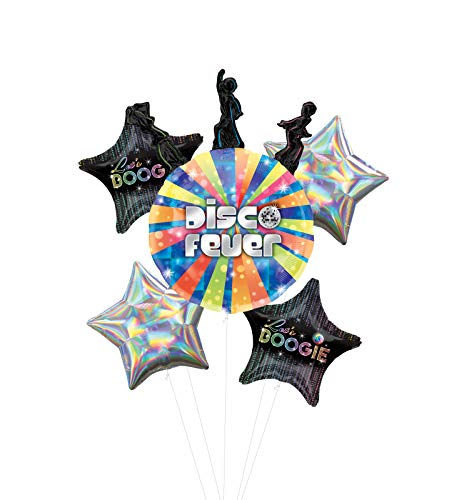 Let's Boogie Disco Dancing Party Supplies Balloon Bouquet Decorations with Silver Iridescent Star