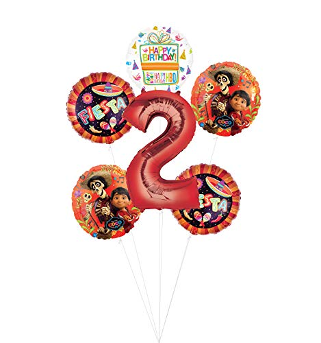 Coco Party Supplies 2nd Birthday Fiesta Balloon Bouquet Decorations - Red Number 2