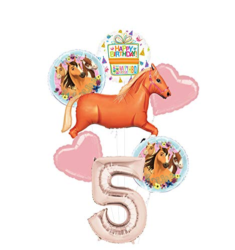 Mayflower Products Spirit Riding Free Party Supplies 5th Birthday Tan Horse Balloon Bouquet Decorations