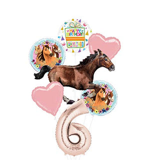 Mayflower Products Spirit Riding Free Party Supplies 6th Birthday Galloping Horse Balloon Bouquet Decorations