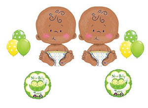 "New Baby Twins! TWO 24"" CELEBRATE BABY Shower Ballon Party Supply Kit"