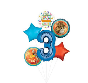 Lion King Party Supplies 3rd Birthday Balloon Bouquet Decorations - Blue Number 3