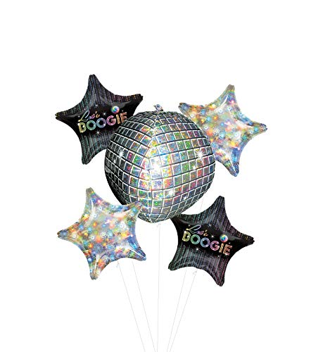 70's Disco Dance Party Supplies Let's Boogie Balloon Bouquet Decorations with Holographic Stars