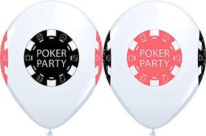 "11"" Casino Night POKER PARTY Chips 4 Sided Print White Latex Balloons 25 Count"