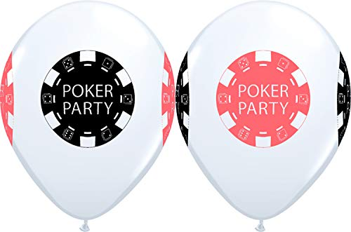 "11"" Casino Night POKER PARTY Chips 4 Sided Print White Latex Balloons 5 Count"