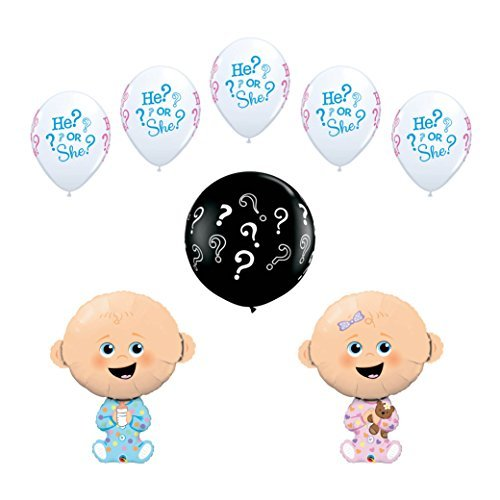 8 pc Gender Reveal Party Baby Shower Balloon Decoration Kit includes a 36 Inch Black ? Latex Reveal Balloon