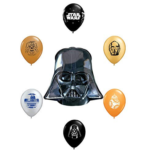 "25"" Darth Vader Helmet Foil Balloon and 6pc Star Wars 11"" Character Print Latex Balloons Chewbacca, Darth Vader, C3PO, R2D2, BB8, Yoda"