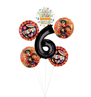 Coco Party Supplies 6th Birthday Fiesta Balloon Bouquet Decorations - Black Number 6