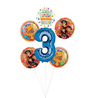 Coco Party Supplies 3rd Birthday Fiesta Balloon Bouquet Decorations - Blue Number 3