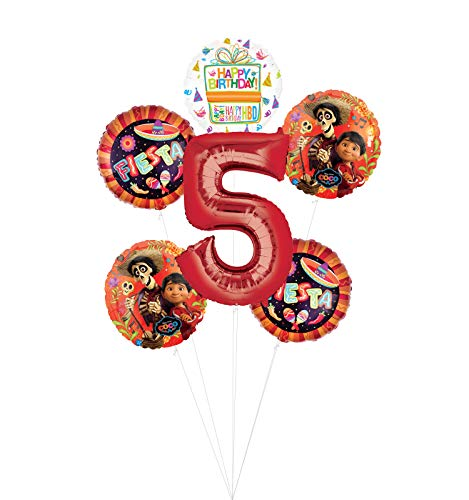 Coco Party Supplies 5th Birthday Fiesta Balloon Bouquet Decorations - Red Number 5
