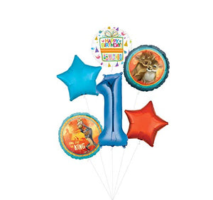 Lion King Party Supplies 1st Birthday Balloon Bouquet Decorations - Blue Number 1