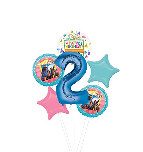 Mayflower Products Wonder Park Party Supplies 2nd Birthday Balloon Bouquet Decorations - Blue Number 2