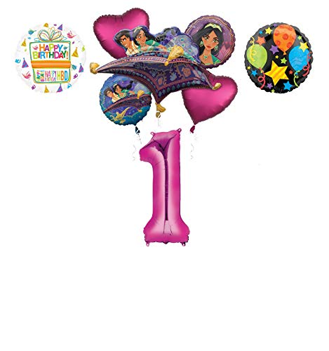 Mayflower Products Aladdin 1st Birthday Party Supplies Princess Jasmine Balloon Bouquet Decorations - Pink Number 1