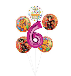 Coco Party Supplies 6th Birthday Fiesta Balloon Bouquet Decorations - Pink Number 6