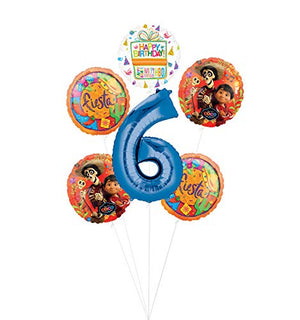 Coco Party Supplies 6th Birthday Fiesta Balloon Bouquet Decorations - Blue Number 6