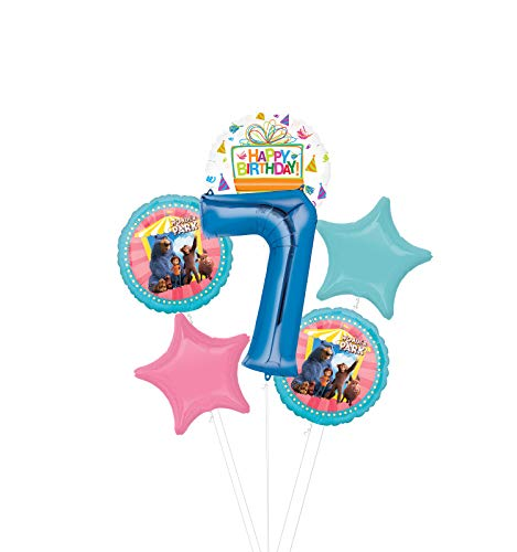 Mayflower Products Wonder Park Party Supplies 7th Birthday Balloon Bouquet Decorations - Blue Number 7