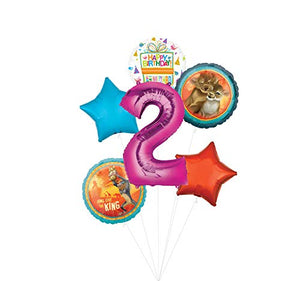 Lion King Party Supplies 2nd Birthday Balloon Bouquet Decorations - Pink Number 2