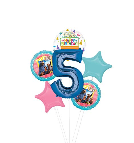 Mayflower Products Wonder Park Party Supplies 5th Birthday Balloon Bouquet Decorations - Blue Number 5