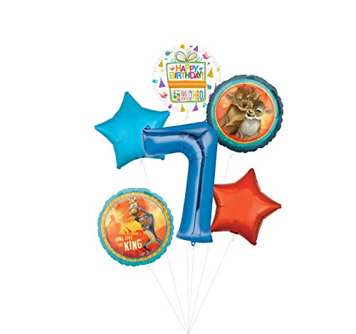 Lion King Party Supplies 7th Birthday Balloon Bouquet Decorations - Blue Number 7