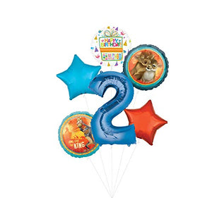 Lion King Party Supplies 2nd Birthday Balloon Bouquet Decorations - Blue Number 2