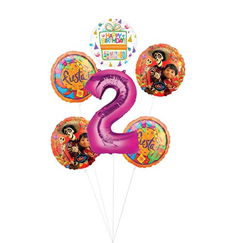 Coco Party Supplies 2nd Birthday Fiesta Balloon Bouquet Decorations - Pink Number 2