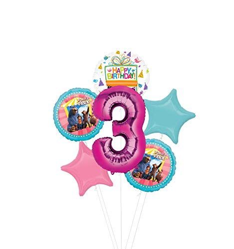 Mayflower Products Wonder Park Party Supplies 3rd Birthday Balloon Bouquet Decorations - Pink Number 3