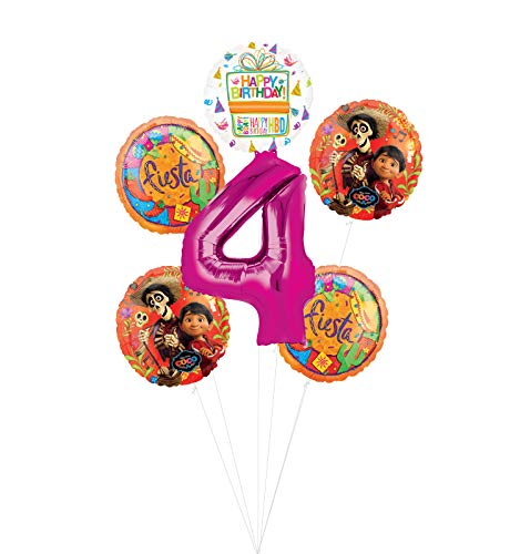 Coco Party Supplies 4th Birthday Fiesta Balloon Bouquet Decorations - Pink Number 4