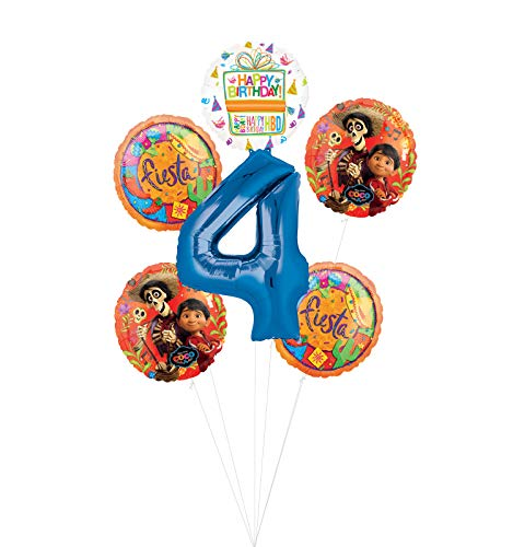 Coco Party Supplies 4th Birthday Fiesta Balloon Bouquet Decorations - Blue Number 4