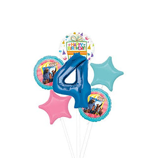 Mayflower Products Wonder Park Party Supplies 4th Birthday Balloon Bouquet Decorations - Blue Number 4