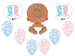 "Gender Reveal He She Footprints 24"" CELEBRATE BABY SHOWER Balloon Supplies"