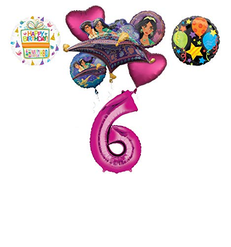 Mayflower Products Aladdin 6th Birthday Party Supplies Princess Jasmine Balloon Bouquet Decorations - Pink Number 6