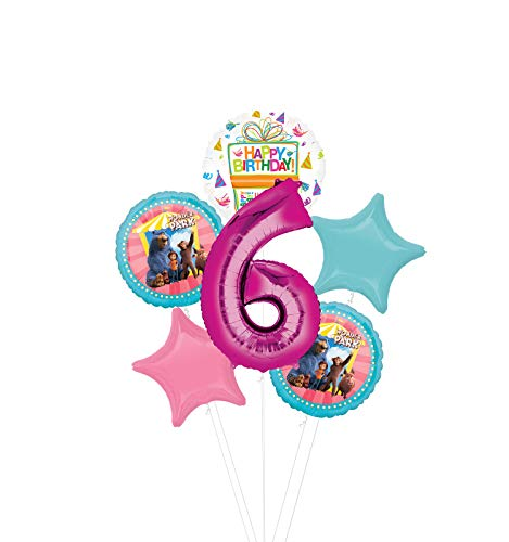 Mayflower Products Wonder Park Party Supplies 6th Birthday Balloon Bouquet Decorations - Pink Number 6
