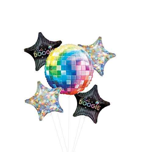 Dance Fever 70's Disco Party Supplies Let's Boogie Balloon Bouquet Decorations with Holographic Stars